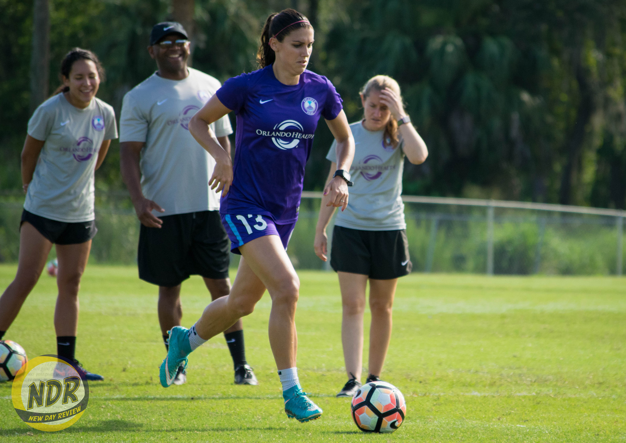 837d3d6cc0d Orlando Pride forward Alex Morgan dribbles the ball during a training  session at Seminole Soccer Complex on Friday
