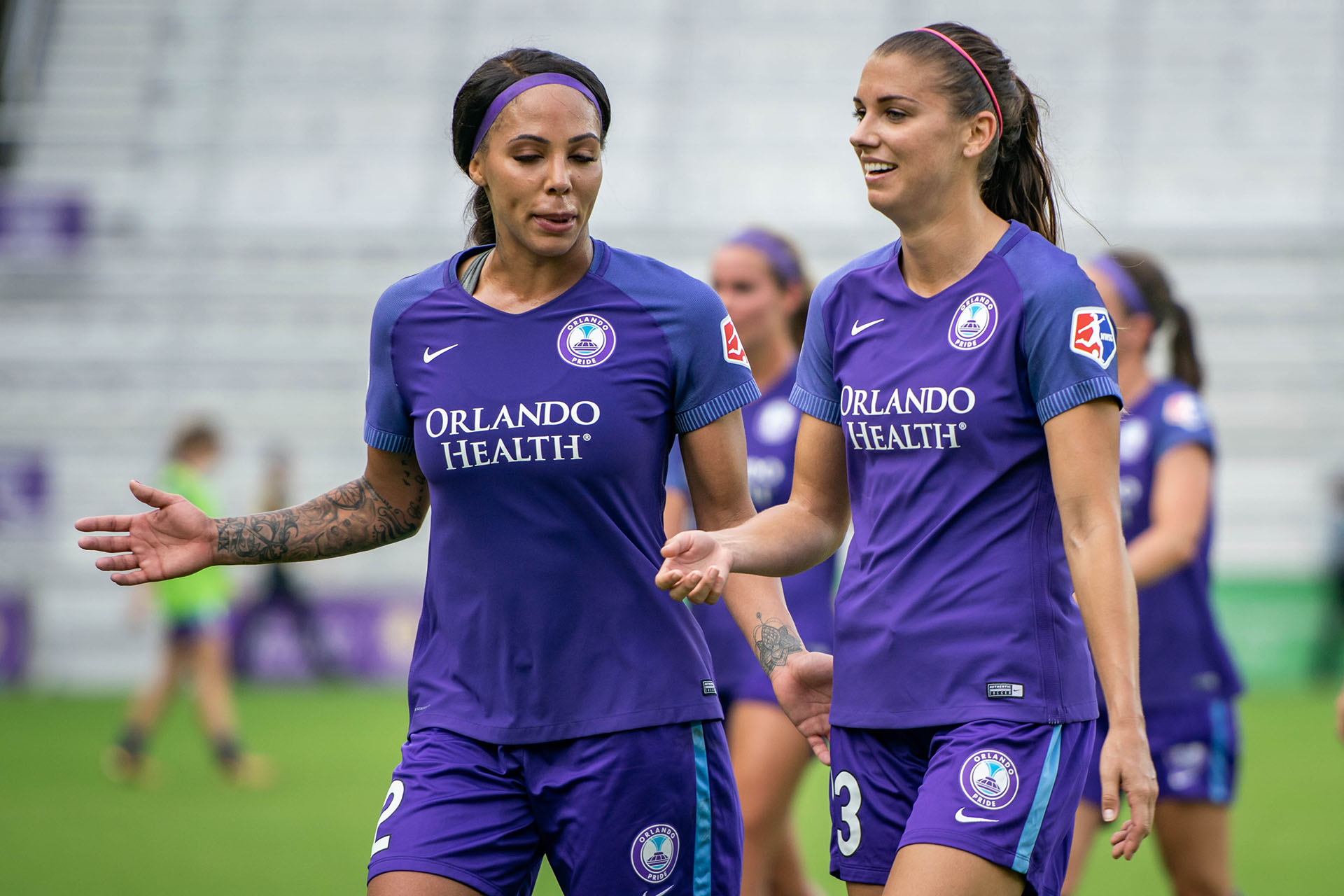 51ae66c1d Orlando Pride forwards Sydney Leroux, left, and Alex Morgan, right, discuss  the match heading into halftime before a 1-0 win over the Houston Dash at  ...