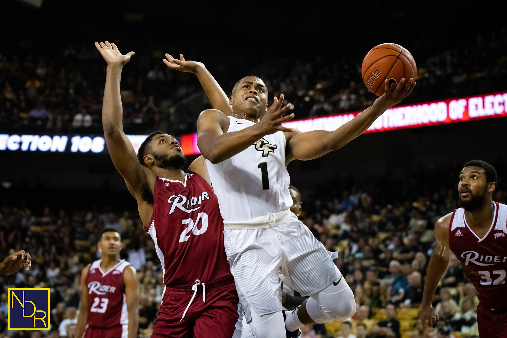 913251a8d9f UCF Knights guard B.J. Taylor goes up for a layup during an 84-70 win over  Rider University at CFE Arena on Tuesday, Nov. 6, 2018.